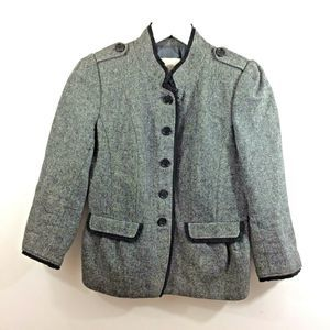 Ann Taylor LOFT Wool Button Up Military Blazer